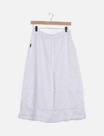 Falda midi blanco roto