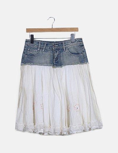Falda midi combinada