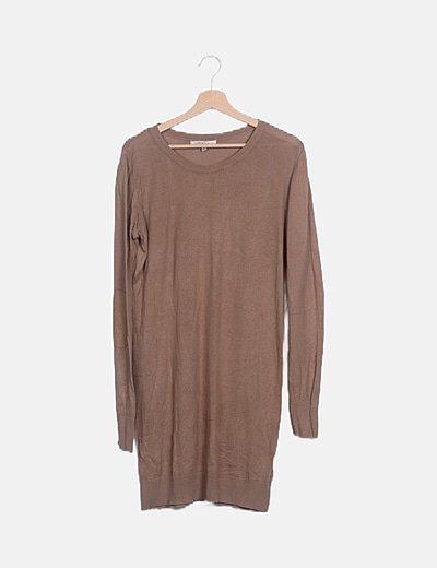 Vestido punto marrón