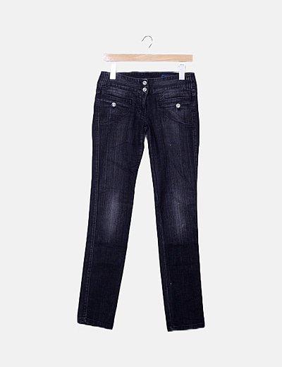 Jeans negro efecto desgastado
