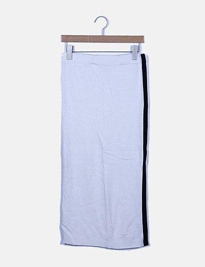 Maxi falda blanca banda lateral