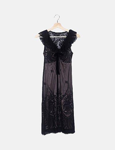 Vestido midi lencero negro