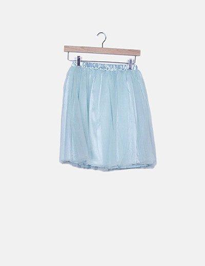 Falda mini tul azul
