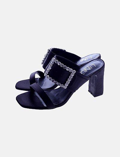 Sandalias negras satén strass
