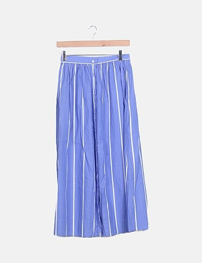 Falda midi azul rayas blancas