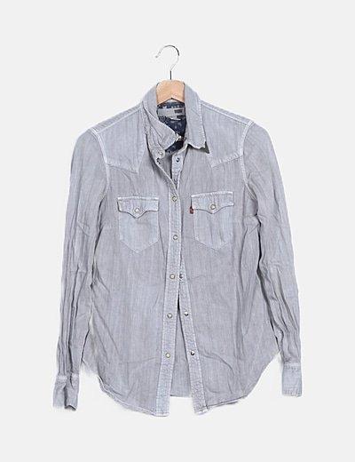 Camisa denim gris