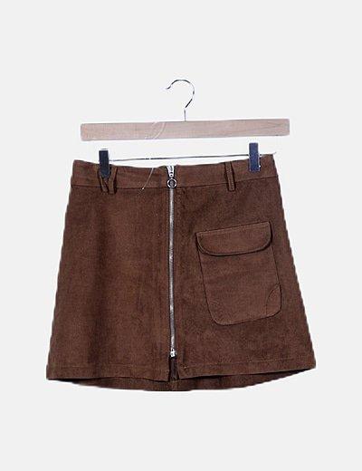 Falda de antelina marrón