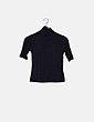 Camiseta negra cuello vuelto Boohoo