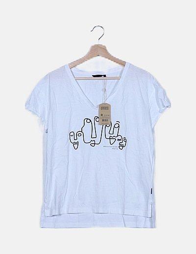 Camiseta blanca print negro