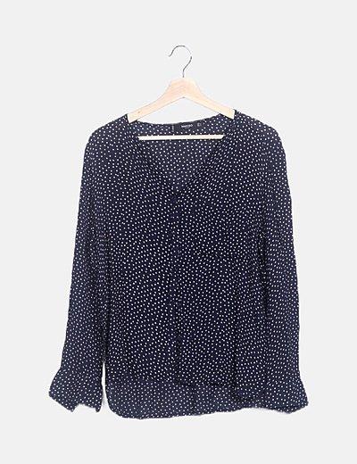 Camisa azul marino print corazones