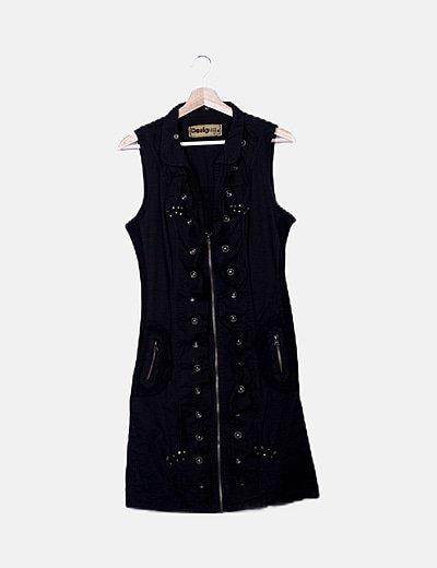 Vestido negro detalles bronce