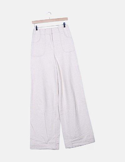 Jeans denim wide leg beige