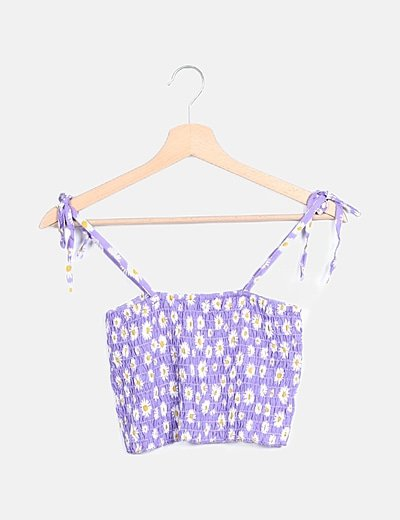 Top lila estampado girasoles