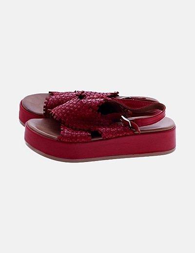 Sandalias de plataforma napa rojo