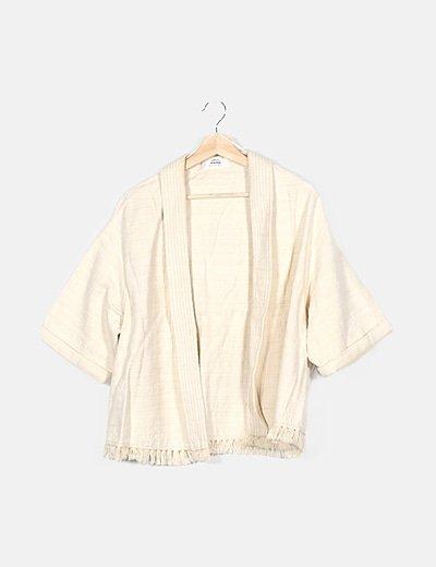 Kimono beige texturizado