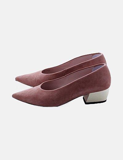 Zapato salón ante tacón cromado