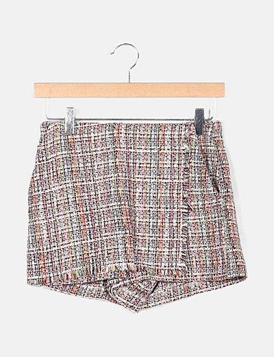 Minifalda pantalón punto multicolor detalles