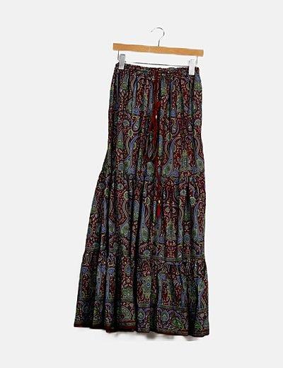 Maxi falda paisley print