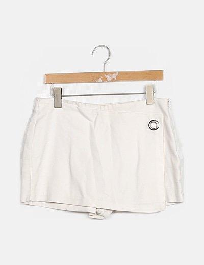 Faldapantalón blanca detalle tacha