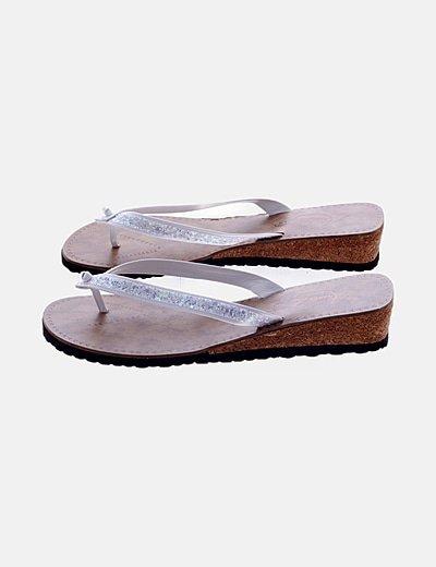Sandalia plataforma glitter blanca