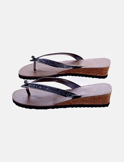 Sandalia plataforma glitter negra