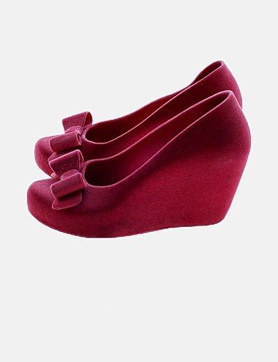 Zapato rosa antelina con plataforma