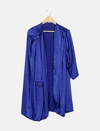 Kimono azul satinado