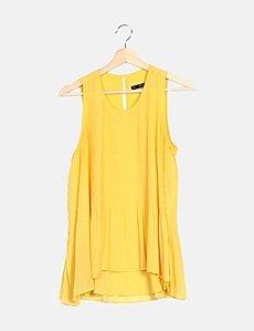 Zara Blusa amarilla plisada (descuento 84 %) Micolet