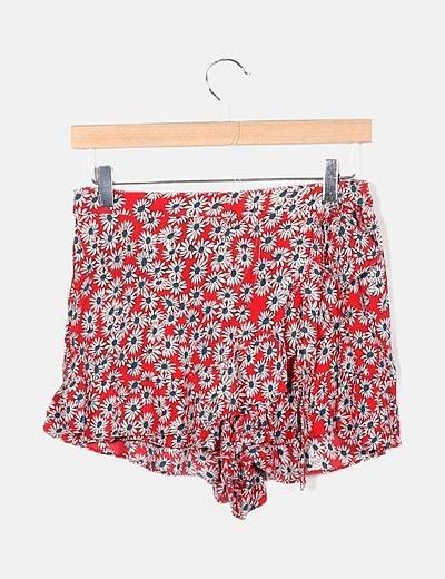 Falda pantalón roja floral