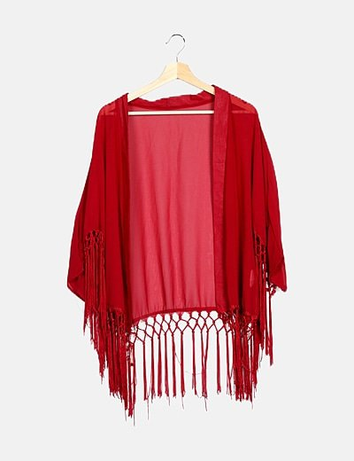 Kimono rojo flecos