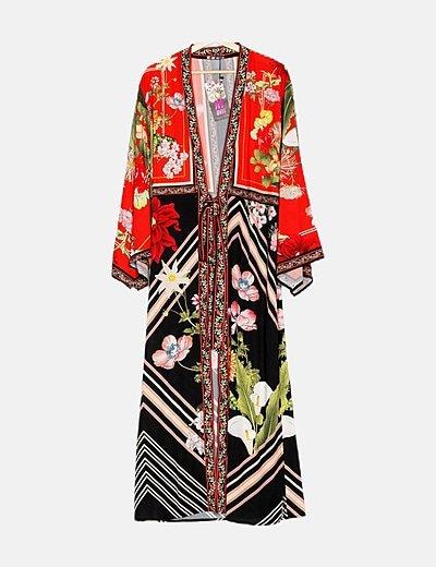 Kimono largo estampado multicolor