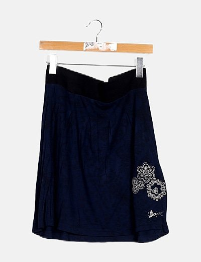 Falda evasé azul marino print floral
