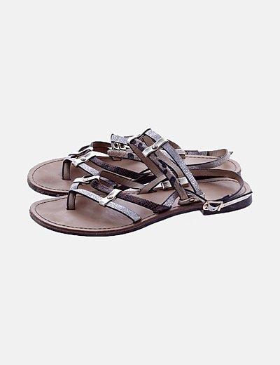 Sandalia bicolor de tiras