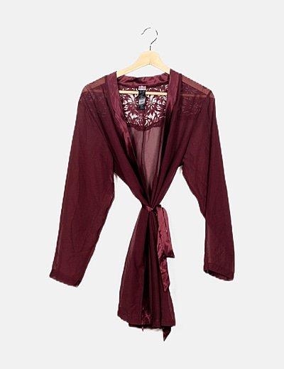 Kimono lencero berenjena