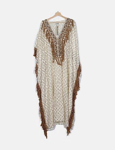 Túnica crochet blanco flecos