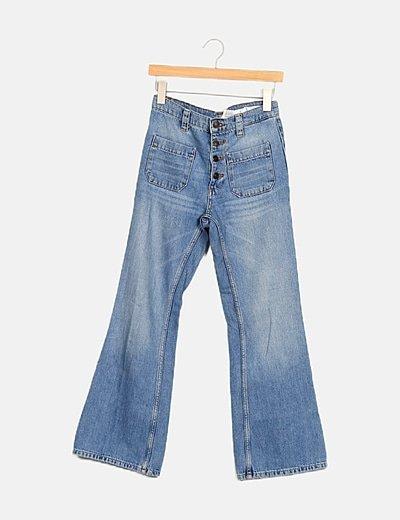 Jeans azul de campana