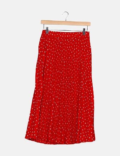 Falda maxi plisada roja