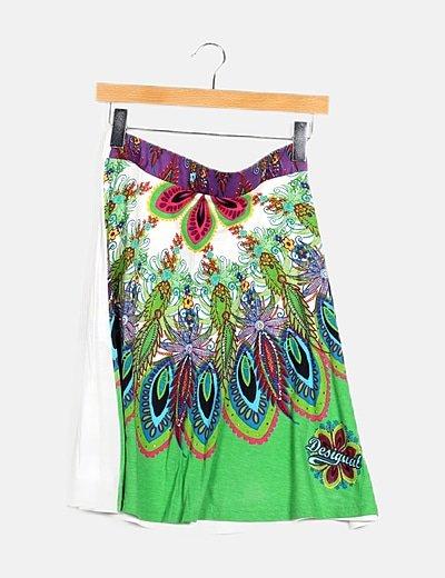 Falda mini multicolor print floral