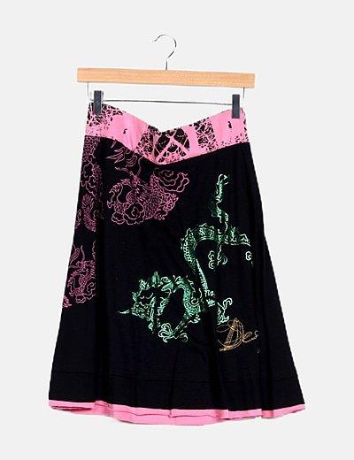 Falda mini bicolor print floral