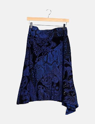 Falda evasé bicolor print floral