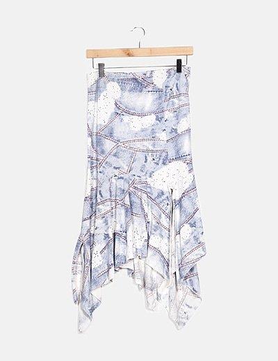 Falda multicolor estampado combinado
