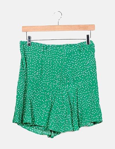Falda pantalón verde moteado