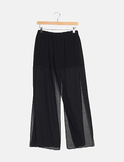 Falda pantalón negra transparente