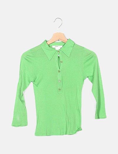 Polo verde manga larga
