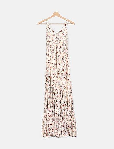Vestido crema floral de tirantes