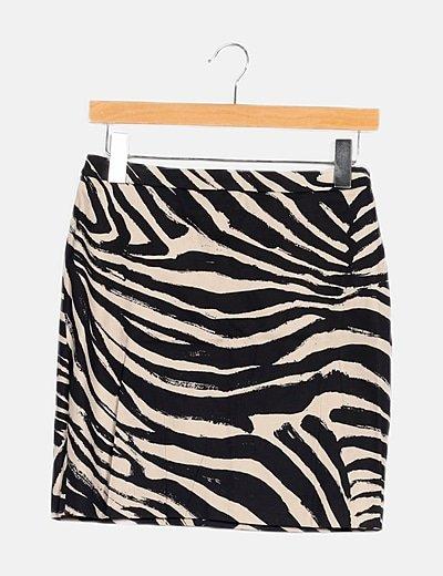 Falda denim bicolor animal print