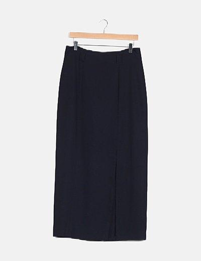 Falda maxi azul abertura