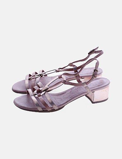 Sandalia de tacón rosa detalle glitter