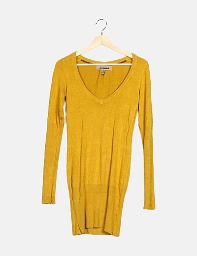 Vestido tricot mostaza