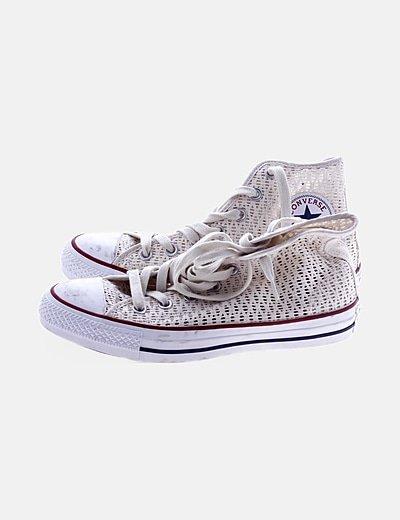 Zapatillas botín blancas caladas